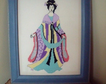 Handmade Oriental Lady Cross Stitch Gift Completed Cross Stitch Framed
