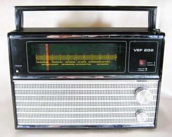 Radio portátil VEF-202 vintage, retro, art, decor, gift, collectible, Soviet-era Soviet Union, Ukraine, Russia