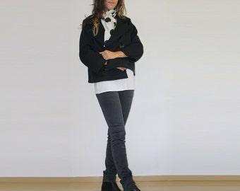 Crop trench/3/4 sleeve jacket/Cropped jacket/Black jacket/Black trench/Double breatsed jacket