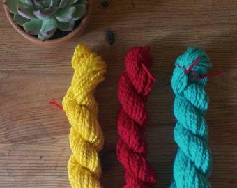 SUNDANCE - Weaving kit - three small skeins - 23 microns merino - handspun true worsted