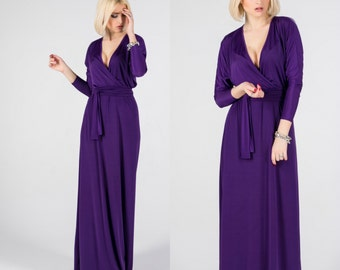 Purple Evening Dress. Party Maxi Dress. Long Dress with sleeves