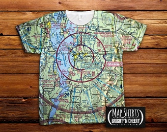 Burlington Vermont Aviation Sectional Map Tshirt, All Over Print tee, BTV shirt, pilot gift idea, airplane shirt, aviator gift, flight map