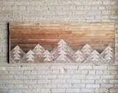 Reclaimed Wood Queen Headboard or Wall Art, Mountains Gradient Sky, Decor, 61 x 24