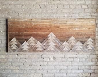 Reclaimed Wood Wall Art | Wall Decor | Wood Art | Queen Headboard | Wall Art | Mountain Art | Gradient Sky | Rustic Decor | Modern | 61x24