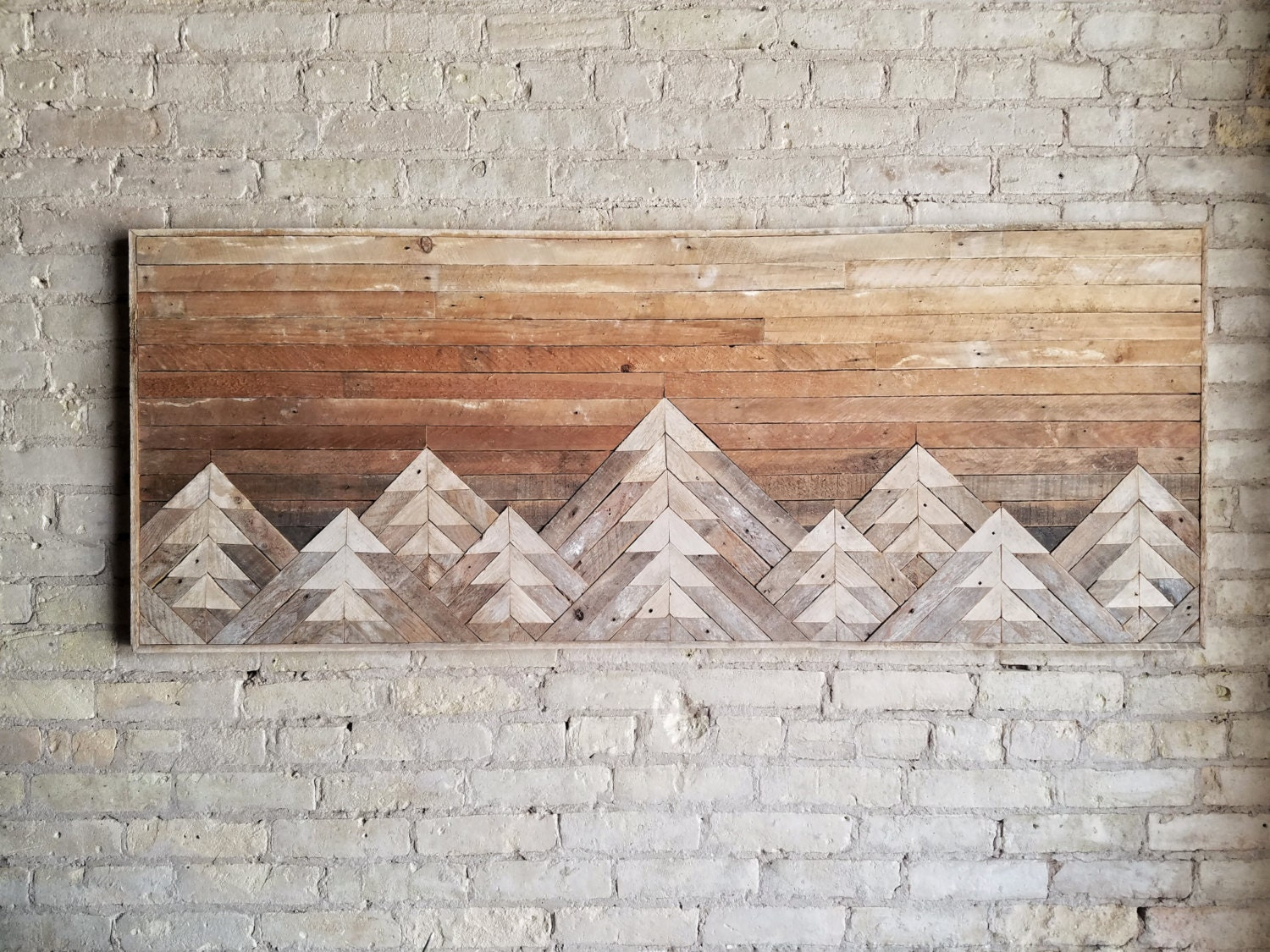 Reclaimed wood wall art wall decor wood art queen headboard wall art mountain art - Rustic wall plaques ...