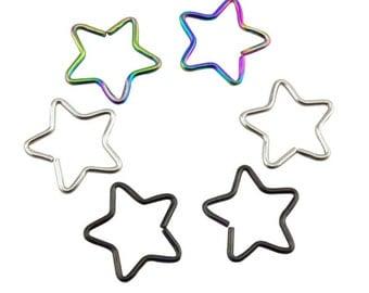 Daith Piercing Anodized Colour Star Surgical Steel Cartilage Rook Tragus Bar 18g