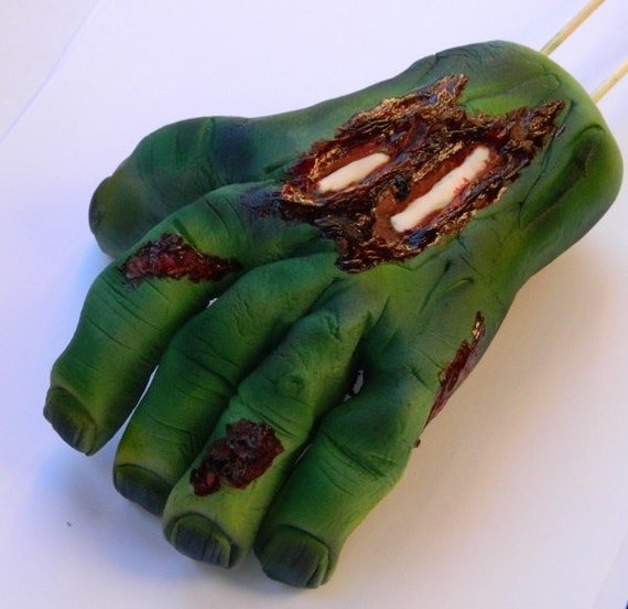 1 Edible 3d Zombie Hand Halloween Dead Spooky Grave Scary Cake