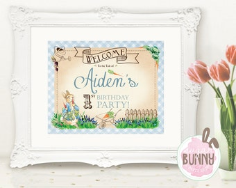 Printable Peter Rabbit 1st Birthday or Baby Shower Welcome Sign 8 x 10 DIGITAL