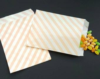 "Paper bag - pink paper bag - pink stripes - treat bag - goodie bag - candy bag - bakery bag- set of 25 paper bags - 5 1/8"" x 6 3/8"""