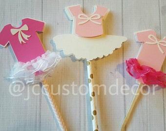 Tutu Cupcake Topper-Baby Girl Shower Cupcake Topper-Ballerina Topper-Girl Birthday Cupcake Topper-Onesie cupcake topper-Set of 12