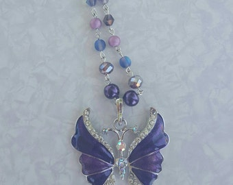 Handmade beaded butterfly necklace
