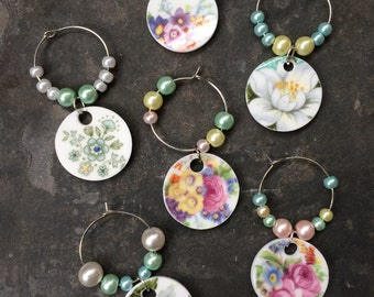 Up-cycled China Set of 6 Wine Glass Charms/  drinking accessories/ glass charms/ wine charms/ something different