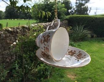 Teacup birdfeeder/ birdfeeder/ unusual birdfeeder/ upcycled china