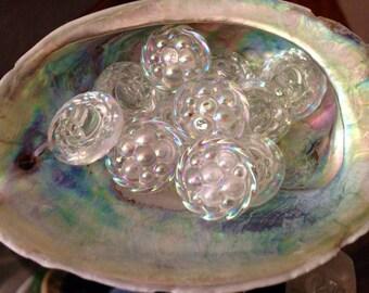 6 antique glass buttons - aurora borealis - beerendesign - 1,8 cm