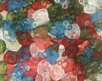 Heart Beads-Assorted Color Heart Beads-Mixed Lots Heart Beads-Red Heart Beads-Green Heart Beads-Blue Heart Beads-Clear Heart Beads