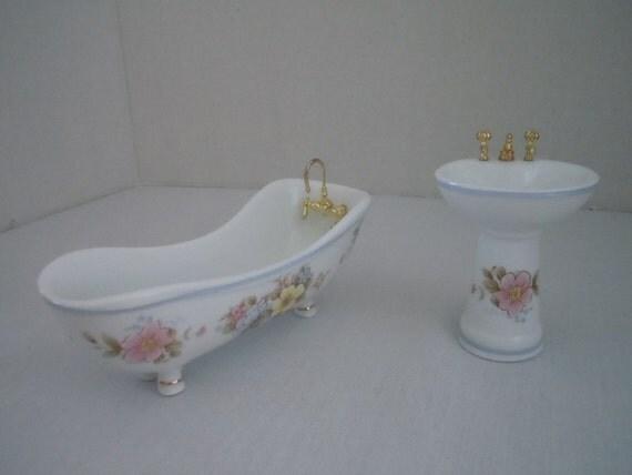 Miniature bathtub and sink porcelain bathroom tub for Porcelain clawfoot bathtub