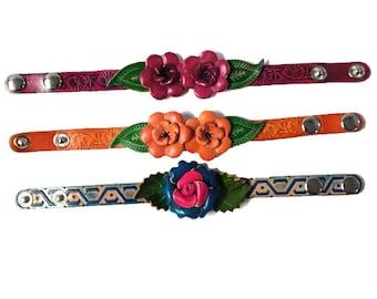 Genuine Leather Bracelet, Flowers Leather Bracelet, Floral Bracelet, HFF151617