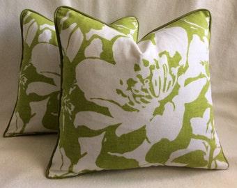 Modern Flower Designer Pillow Covers - Lime Green Peony - P Kaufmann Fabric - 18x18 Cover