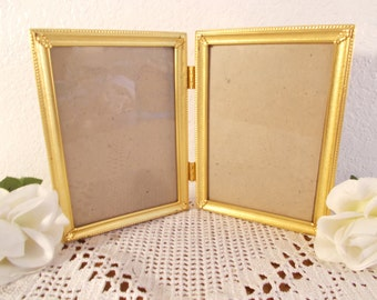 Vintage Ornate Gold Metal Hinged Picture Frame 2 Photo Decoration Mid Century Hollywood Regency Home Decor Birthday Gift Him Her