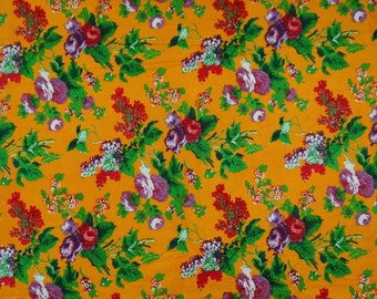 """Indian Decorative Yellow Color Pure Cotton Printed Pattern Floral Fabric 47"""" Wide Sewing Crafting Apparel Material By 1 Yard ZBC5909"""
