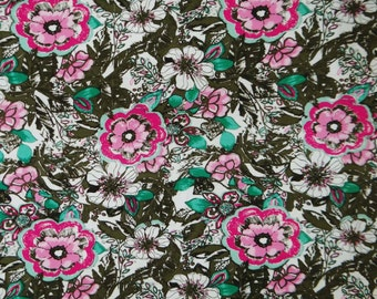 """Indian Floral Printed Pattern White Color Pure Cotton Fabric 45"""" Wide Dress Making Sewing Crafting Apparel Fabric Material By 1 Yard ZBC5502"""