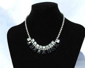 Vintage Rhinestone and Black stone necklace
