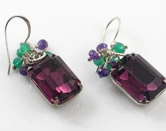 Vintage Amethyst Glass Earrings, Purple Amethyst and Green Onyx Gemstone Cluster Earrings