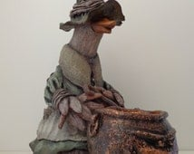 Witch with cauldron figure/candle holder, Ceramic duck witch with evil cauldron