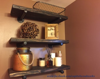 Industrial Pipe Shelf / Black Pipe Shelf / Rustic Shelf / Floating Pipe Shelf
