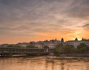 Paris France Seine River Bridge Sunset Art Photography Print Wall Decor