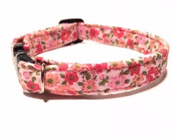 Floral Cat Collar Pink Haze - safety breakaway clip