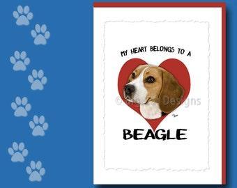 BEAGLE CARD, Beagle Greeting Card, Beagle Notecard,  Beagle Birthday Card, Beagle Note Card