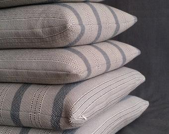 stack of 5 linen ticking pillows