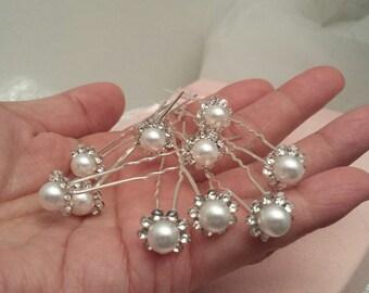 Bridal Hair Pins Set, Set of 10, Rhinestone-Pearl Hair U-pin, Wedding Hair Accessories