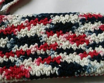 Red White and Blue Wrislet, Crochet Wristlet, 4th of July Wristlet, Wristlet,  Independence Day Inspired Wristlet, Ready to Ship,