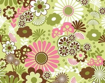 SALE Dainty Blossoms by Riley Blake Designs - Green Floral Brown Pink Flower - 100% Cotton Flannel Fabric - by the yard fat quarter half