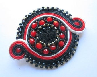 Red and black Soutache brooch with beads Brooch tie Handmade soutache jewelry Elegant brooch Womens gift Trendy jewelry Soutache embroidery