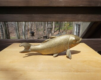 Vintage Brass Fish Figurine, Koi Fish, Brass Paperweight, Nautical Home Decor