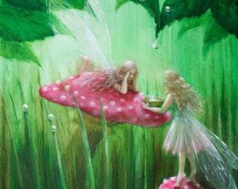 Fairies Collecting Raindrops (Limited Edition Print)