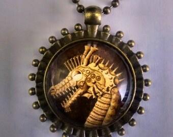 Steampunk Dragon Pendant, Steampunk Dragon Necklace, Steampunk Jewelry, Steampunk Dragon.  FREE SHIPPING