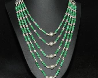 FT738 Malachite 5 Strand Necklace