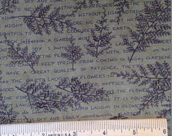 Words Underneath Leaves on Olive Green Background, The Potting Shed, Holly Taylor, Moda Fabrics, 100% Cotton