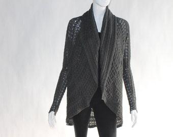 Vintage Dark Grey Loose Knitted Cardigan - SIZE MEDIUM - 100% Cotton