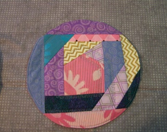 Crazy patch snack mat pink blue and purple