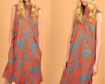 Stunning Pauline Trigère 1960's Silk Dress Groovy Classic