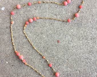 Coral Beaded Gold Long Necklace