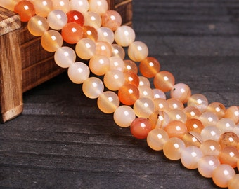 Natural Orange Agate Beads,Full Strand 2 4 6 8 10 12 14 16 18 20mm Round Agate Semi Precious Beads for DIY Necklace Braceler Making