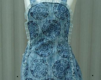 womens apron, full apron, vintage style apron, blue apron