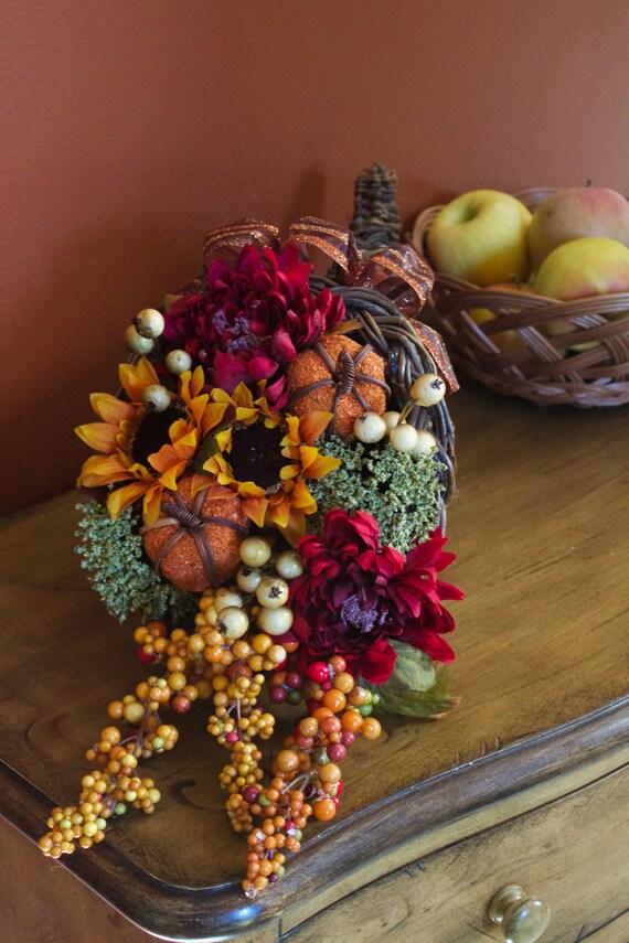 Thanksgiving floral cornucopia centerpieces