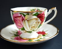 Vintage Queen Anne Bone China Teacup & Saucer ca. 1960's